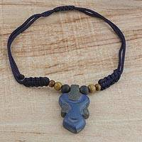 Wood pendant necklace, 'Enyindado' - Blue Wood Pendant Necklace on Adjustable Cord