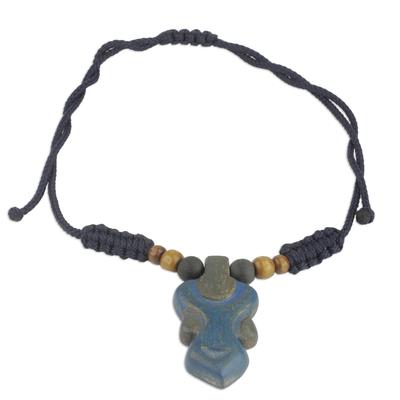 Blue Wood Pendant Necklace on Adjustable Cord