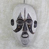 African wood mask, 'Nukporla' - Hand Carved West African Alstonia Wood Wall Mask