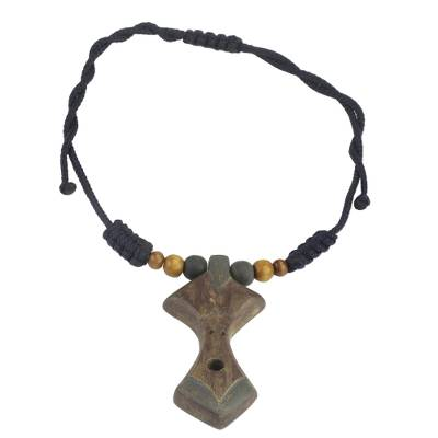 Adjustable Sese Wood Beaded Pendant Necklace from Ghana