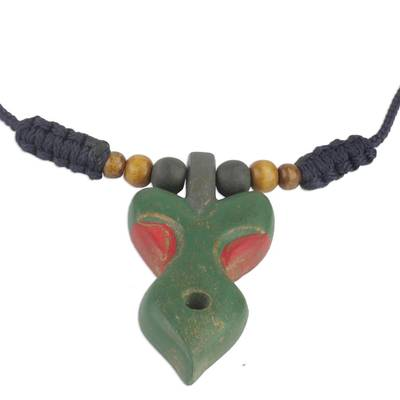 Green and Red Wood Pendant Necklace on Adjustable Cord