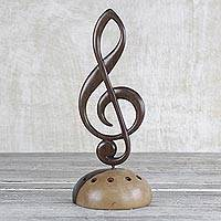 Ebony wood sculpture, 'Musical Clef' - Ghanaian Artisan Handcarved Ebony Wood Music Clef Sculpture