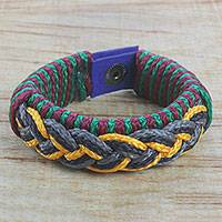 Men's wristband bracelet, 'Deep Kaleidoscope' - Men's Multi-Color Braided Cord Wristband Bracelet