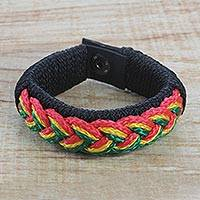 Men's wristband bracelet, 'Continent Colors' - Men's Braided Cord Wristband Bracelet