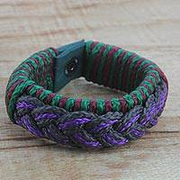 Men's wristband bracelet, 'Savant' - Men's Multi-Color Braided Cord Wristband Bracelet