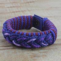 Men's wristband bracelet, 'Gloaming' - Men's Multi-Color Braided Cord Wristband Bracelet