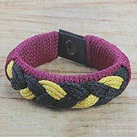 Men's wristband bracelet, 'Jungle Dawn' - Men's Black and Yellow Braided Cord Wristband Bracelet