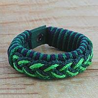 Men's wristband bracelet, 'Optimist' - Men's Multi-Color Braided Cord Wristband Bracelet