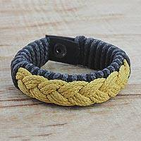 Men's wristband bracelet, 'Seacoast' - Men's Multi-Color Braided Cord Wristband Bracelet