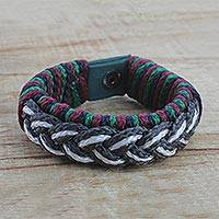 Men's wristband bracelet, 'Kinship' - Men's Multi-Color Braided Cord Wristband Bracelet