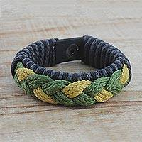 Men's wristband bracelet, 'Savanna' - Men's Multi-Color Braided Cord Wristband Bracelet