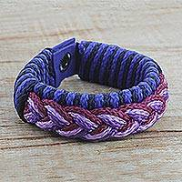Men's wristband bracelet, 'Eloquent' - Men's Multi-Color Braided Cord Wristband Bracelet