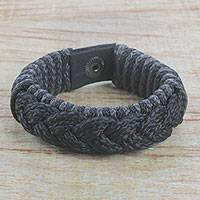Men's wristband bracelet, 'Bold' - Men's Black Braided Cord Wristband Bracelet