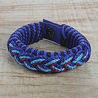 Men's wristband bracelet, 'Sky is the Limit' - Men's Blue Braided Cord Wristband Bracelet