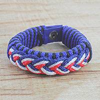 Men's wristband bracelet, 'Chief' - Men's Multi-Color Braided Cord Wristband Bracelet