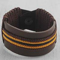 Men's leather wristband bracelet, 'Okukudurufuo' - Men's Brown Leather with Yellow Cord Wristband Bracelet