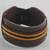 Men's leather wristband bracelet, 'Okukudurufuo' - Men's Brown Leather with Yellow Cord Wristband Bracelet (image 2) thumbail