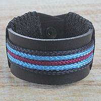 Men's leather wristband bracelet, 'Coastal Bay' - Men's Black Leather and Blue Cord Wristband Bracelet