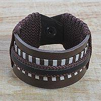 Men's leather wristband bracelet, 'Power Stance' - Men's Brown and Black Leather Wristband Bracelet