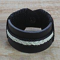 Men's leather wristband bracelet, 'Band of Brothers' - Men's Black Leather and Braided Cord Wristband Bracelet