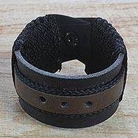 Men's leather wristband bracelet, 'Harnessed Power' - Men's Brown and Black Leather Wristband Bracelet