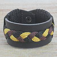 Men's leather wristband bracelet, 'Braided Harvest in Black' - Men's Black Leather with Braided Cord Wristband Bracelet