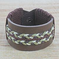 Men's leather wristband bracelet, 'Double Take in Brown' - Men's Brown Leather Wristband Bracelet with Braided Cord
