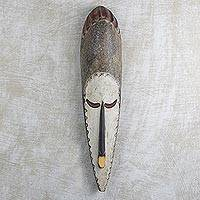 African wood mask, 'Thulisile' - Sese Wood Wall Mask Hand Crafted in Ghana