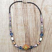Glass and recycled plastic beaded necklace, 'Spontaneous Color' - Recycled Glass and Plastic Beaded Necklace from Ghana
