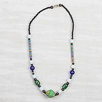 Recycled glass and plastic beaded necklace, 'Market Journey' - Multi-Colored Glass and Recycled Plastic Beaded Necklace