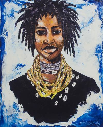 'Donkor III' - Signed Portrait Painting of a Woman from Ghana