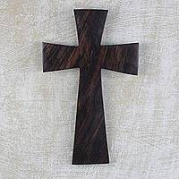 Ebony wood cross, 'Simple Grace' - Ebony Wood Wall Art Cross Hand Carved in West Africa