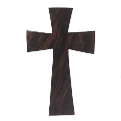 Ebony wood cross, 'Simple Grace' - Ebony Wood Wall Art Cross Hand Carved in West Africa