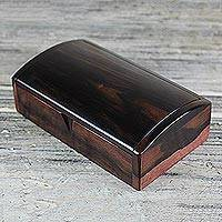 Ebony wood decorative box, 'Minimalist Keeper' (9 inch) - Hand Crafted Ebony Wood Decorative Box from Ghana (9 Inches)