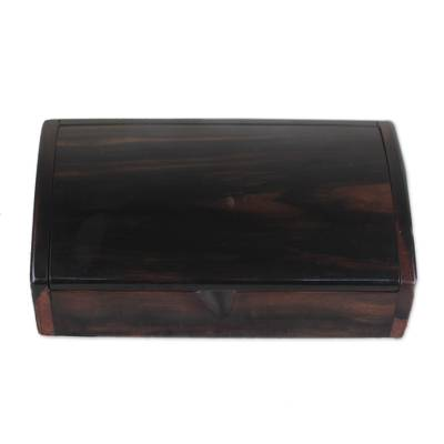 Hand Crafted Ebony Wood Decorative Box from Ghana (9 Inches)