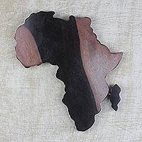 Ebony wood wall art, 'Map of Africa' - Hand Carved Ebony Wood Map of Africa Wall Art from Ghana