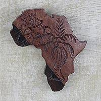 Ebony wood wall art, 'Delights of Africa' - Hand Carved Ebony Wood Map of Africa Wall Art from Ghana