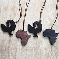Ebony wood ornaments, 'African Sankofa' (set of 4) - Sankofa-Themed Ebony Wood Ornaments from Ghana (Set of 4)