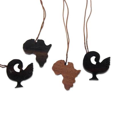 Ebony wood ornaments, 'African Sankofa' (set of 4) - Sankofa-Themed Ebony Wood Ornaments from Ghana (Set of 4)