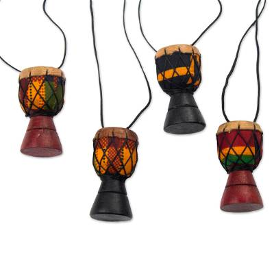 Wood ornaments, 'Djembe Colors' (set of 4) - Sese Wood Djembe Drum Ornaments from Ghana (Set of 4)
