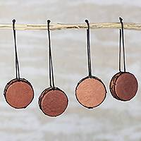 Leather ornaments, 'Bass Drum' (set of 4) - Handcrafted Leather and Wood Bass Drum Ornaments (Set of 4)