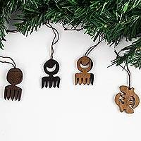 Ebony wood ornaments, 'Adinkra Passion' (set of 4)