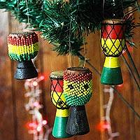 Wood and recycled glass ornaments, 'Eco Djembes' (set of 4)
