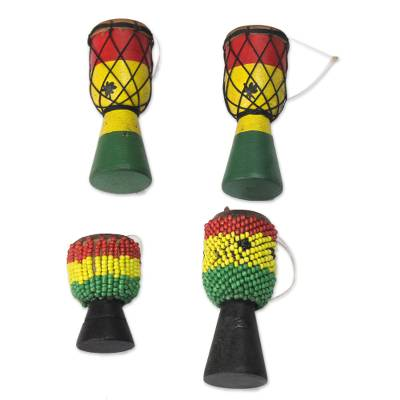 Wood and recycled glass ornaments, 'Eco Djembes' (set of 4) - Wood and Recycled Glass Drum Ornaments from Ghana (Set of 4)