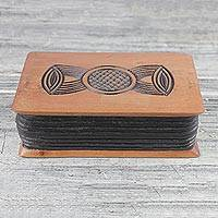 Wood oware game, 'Anigye Oware' - Handmade Osese Wood Oware Board Game from Ghana