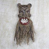 African wood and jute mask, 'Roar of the Tiger'