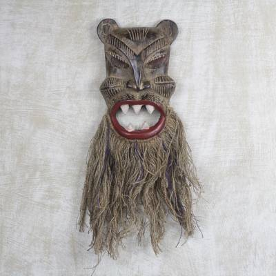 African wood and jute mask, 'Roar of the Tiger' - Sese Wood African Tiger Mask with Jute Beard