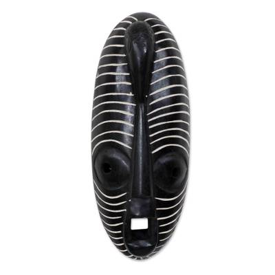 African wood mask, 'Call of the Dove' - Hand Crafted African Sese Wood Oblong Mask with Dove Head