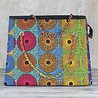 Cotton handbag, 'Flowing Nsubura' - Handmade 100% Cotton Handbag Made in Ghana