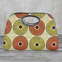 Cotton handle handbag, 'Nsubura Harvest' - Handmade 100% Cotton Multicolor Handle Handbag Made in Ghana
